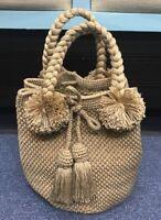 Women's Crochet Hand Knit Vintage Beige Handmade Boho Large Handbag Ladies