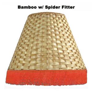 Hawaiian Bamboo Fringe Lamp Shade Hawaii Handcrafted Spider Harp UNO Fitter New