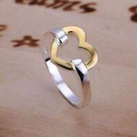 ASAMO Damen Ring mit Herz 925 Sterling Silber plattiert in 5 Größen R1019
