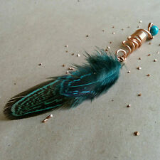 Boho dreadlock bead with feathers, dread bead, feathers for hair, hair feathers