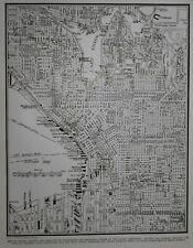 Vintage 1939 World War WWII Era Atlas City Map Central Seattle WA Washington OLD