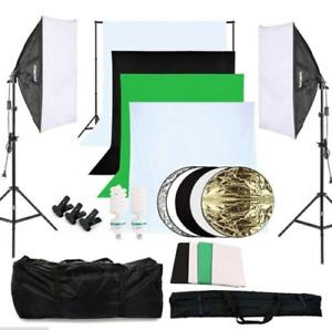 Fotostudio Set 4 Farbe Hintergrundsystem Softbox Dauerlicht Lampe Fotografie DE