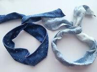 Women Girl Retro 70' 80' Ripped Blue Denim wire Bow bunny hair wrap tie headband