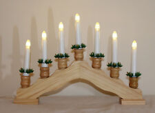 Xmas Indoor Battery Wood Pine Cupped CANDLE ARCH / CANDLELIER/ bridge w Timer
