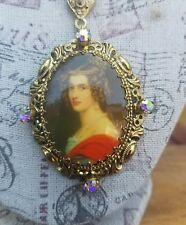 Vintage Filigree Necklace Portrait Pendant AB Rhinestones W. Germany