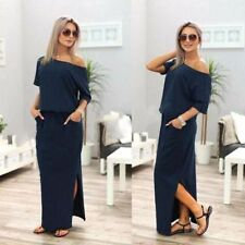 Women's Cold Off Shoulder Long Sleeve Party Evening Plain Loose Long Maxi Dress