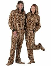Footed Pajamas with Hood Adult Small Plus Tiger Print New with Tags