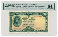 IRELAND banknote 1 Pound 1964 PMG MS 64 Choice Uncirculated
