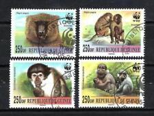 Animaux Singes Guinée (97) série complète 4 timbres oblitérés