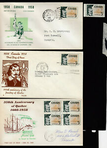1958 #379 5¢ FOUNDING OF QUEBEC ISSUE 3 FIRST DAY COVERS F-VF  + NH MINT STAMP