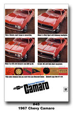 13x19 1967 Chevrolet Camaro SS RS 350 Ad Poster Command Performance GM Chevy 396