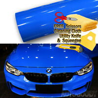 "120"" x 60"" Super Gloss Blue Vinyl Film Wrap Sticker Air Bubble Free 10ft x 5ft"