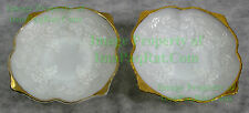 2 Vintage Gold Trim, Milk Glass, Grapes Pattern Footed Bowl NICE BIG PICS