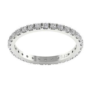 Natural Diamond VS1 E 1.10 Carat Eternity Wedding Ring Prong Set 14K Yellow Gold
