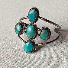 Vintage Handmade Navajo Jewelry Silver Turquoise Cuff Bracelet