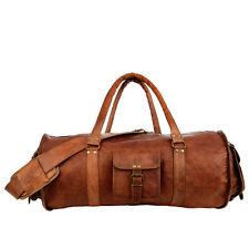 Fair Trade Handmade Large Brown Leather Barrel Holdall