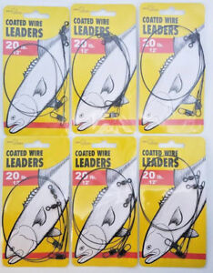 6 PACKS OF JEROS TACKLE 20LB TEST 12 INCH COATED WIRE LEADERS