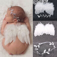 Newborn Baby Infant Feather Angel Wings +Flower Headband Photo Photography Props