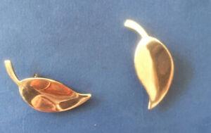 Meka Vintage Denmark Leaf Design Solid Silver 925 Sterling Clip On Earrings