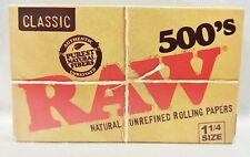 1 Box Raw Classic Natural Unrefined 500's Cigarette Rolling Papers Free Shipping