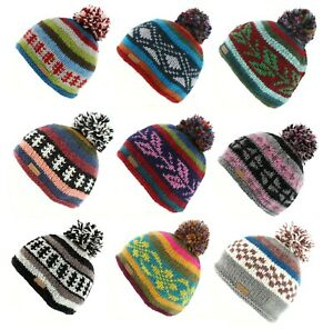 Kusan 100% Wool Bobble Hat Choice of Colours (PK3020)