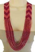 New Women Special Style Ethnic Fashion Jewelry Necklace Red Pink String Beads