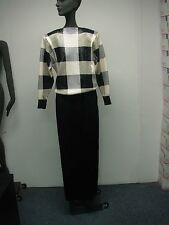 Vintage Womens St John Black & White Dots & Squares Sequins Maxi Skirt Suit 2-4