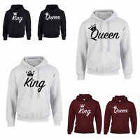 KING QUEEN CROWN HOODIE JUMPER MR MRS valentines anniversary day Couple Matching