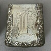 "S. Kirk & Son Sterling Silver Napkin Money Clip scrollwork ""L"" initial monogram"
