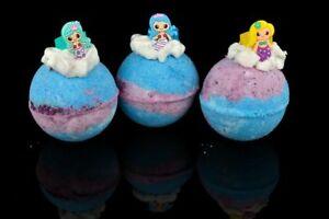 Jumbo Mermaid Bath Bombs x 10 with a Mermaid Ring, Pink Lemonade Fragrance