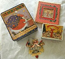 Vtg Mary Engelbreit Lot of 4 Christmas Tins Frame Queen for Day Ornament Believe