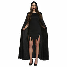 Unisex Long Velvet Black Hooded Cloak Cape Deluxe Vampire Halloween Fancy Dress