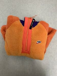 Nike Sportswear Half-Zip Sherpa Hoodie Orange Purple Blue Mens Size M BV3766-886