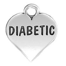 MEDICAL ID ALERT  Sterling Silver Diabetic Heart