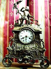 PENDULE BRONZE a fil uhr chasse sapeur clock часы klok antik french XIX e siecle