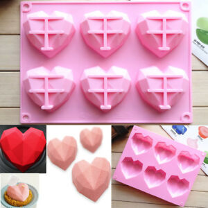 Diamond Heart Cake Jelly Mousse Mold Chocolate Baking Soap Mould Tray Ice Cube