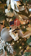 American Flag Christmas Ornament with Washington DC monuments - Great Stocking
