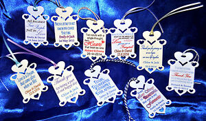 30 x Personalised Wedding Favour Tags 10 designs hand made cream or white