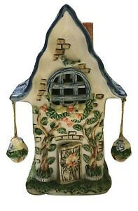 Colorful Ceramic House Cottage Table Night Light With Blue Bird Round Window