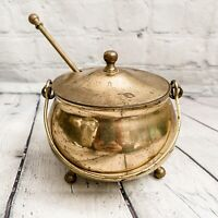 Vtg Solid Brass 3pc Footed Cauldron Fireplace Hearth smudge Pot W/ Lid Grinder