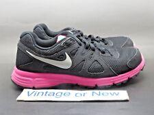 Girls Nike Revolution 2 Black Metallic Silver Pink Running 555090-003 GS sz 4Y