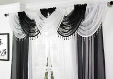 VICTORIAN GLAMOUR VOILE SWAG SPARKLING CRYSTAL BEAD TRIM £4.99 EACH FREE POSTAGE