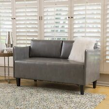 Nile Grey Leather Loveseat