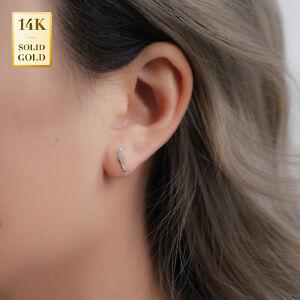 14K Real Solid Gold .05ctw Natural Diamond Line Bar Stud Earring Earlobe Piercin