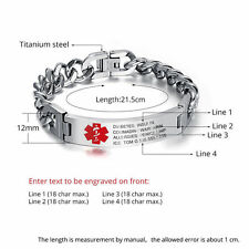 "Free Engraving 8.5"" Personalized Engraving Emergency Medical Alert ID Bracelet"