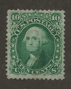 US Stamp #68 1861 Green 10 Cent Washington Used Ex-Light Cancel Cert SCV $55