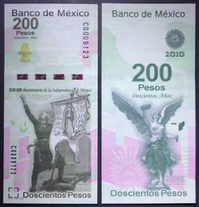 Mexico 2010 Commemorative Banknote 200 Pesos UNC Without Folder