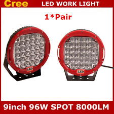 2X 96W 9INCH RED ROUND CREE LED WORK LIGHT SPOT DRIVING JEEP TRUCK 4WD BUMPER