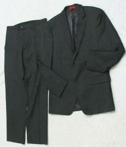 Alfani Black Gray Dress Suit Jacket & Pants Pin Striped Mens Mans 2-Button 40R