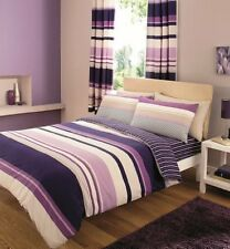 Gaveno Cavailia King Size Bed Duvet Cover Set & 2 Pillow Cases Purple Stripe